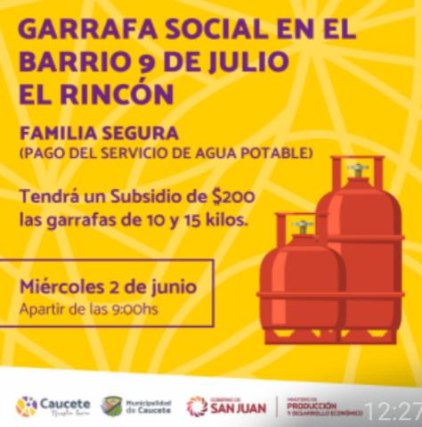 Caucete: Garrafa social en loteo Esperanza