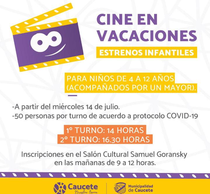 Caucete: Vacaciones, cine para los infantiles